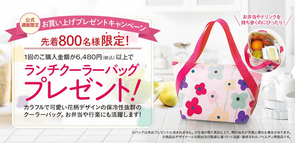 【公式通販限定】1回のご購入金額税込6,480円以上で<br>「ランチクーラーバッグ」プレゼント!