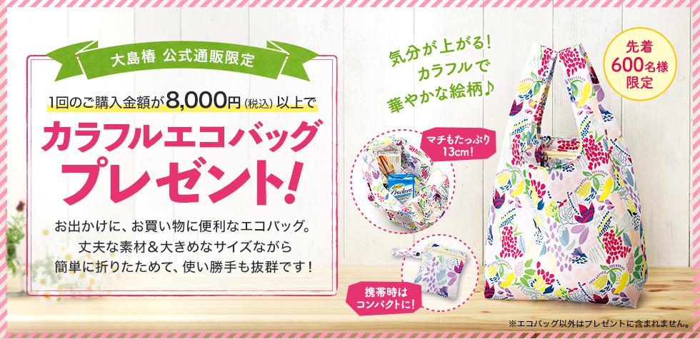 【公式通販限定】1回のご購入金額税込8,000円以上で「カラフルエコバッグ」プレゼント!